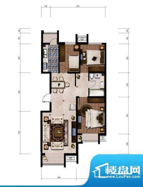 金第梦想山B户型图 3室2厅1卫1面积:104.00平米