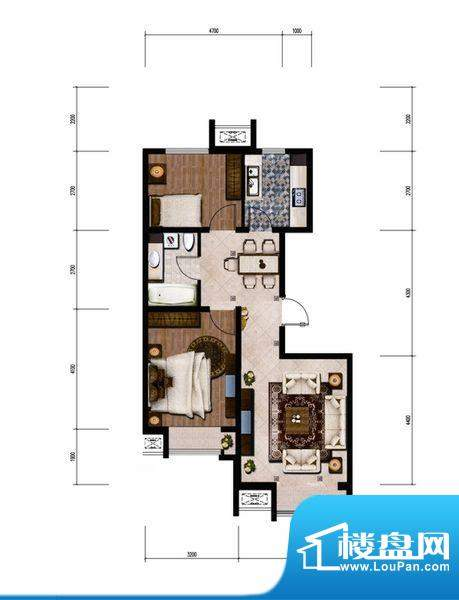 金第梦想山C户型图 3室2厅1卫1面积:85.00平米