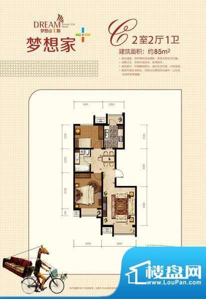 金第梦想山C户型图 2室2厅1卫1面积:85.00平米