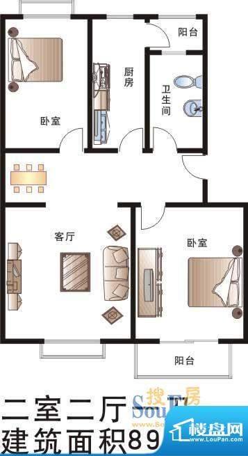 龙湖锦坨城户型图 2室2厅1卫1厨