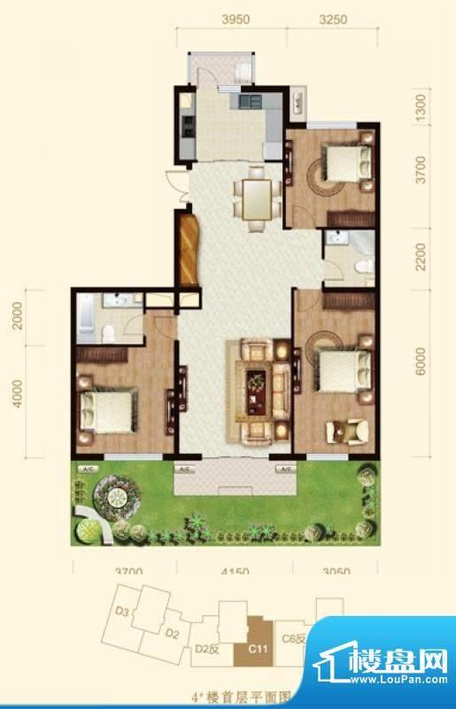 龙山广场4号楼C11户型 3室2厅2面积:150.00平米