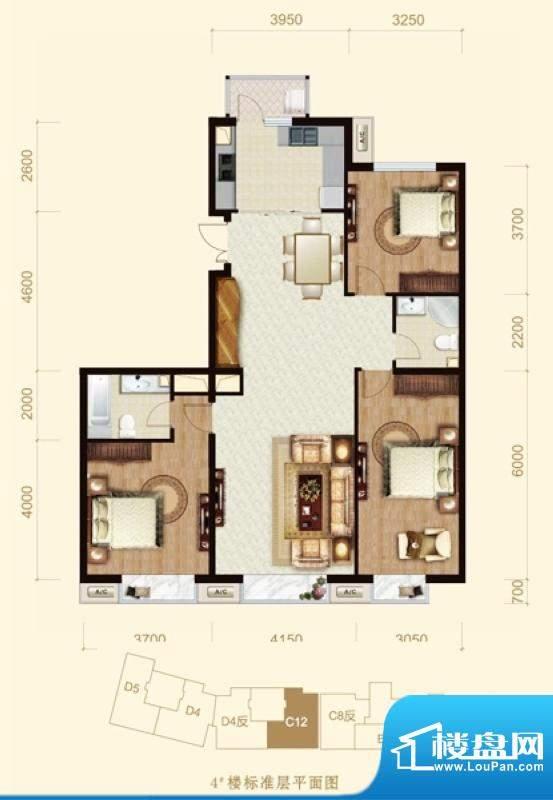 龙山广场4号楼C12户型 3室2厅2面积:150.00平米