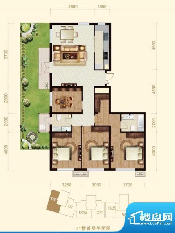 龙山广场4号楼D3户型 4室1厅2卫面积:159.00平米