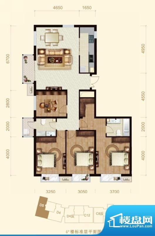 龙山广场4号楼D5户型 4室1厅2卫面积:164.00平米