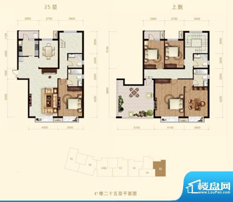 龙山广场4号楼E1跃层户型 5室2面积:243.00平米
