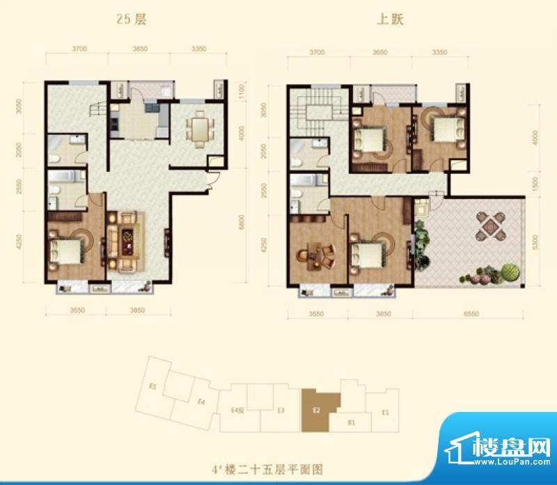 龙山广场4号楼E2跃层户型 5室2面积:258.00平米