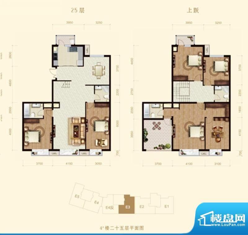 龙山广场4号楼E3跃层户型 6室2面积:275.00平米