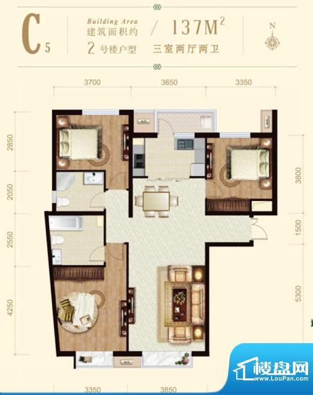 龙山广场2号楼C5户型 3室2厅2卫面积:137.00平米