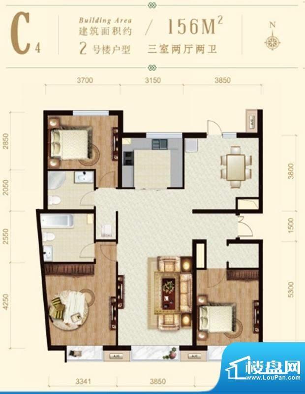 龙山广场2号楼C4户型 3室2厅2卫面积:156.00平米