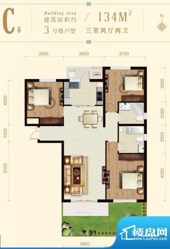 龙山广场3号楼C6户型 3室2厅2卫面积:134.00平米