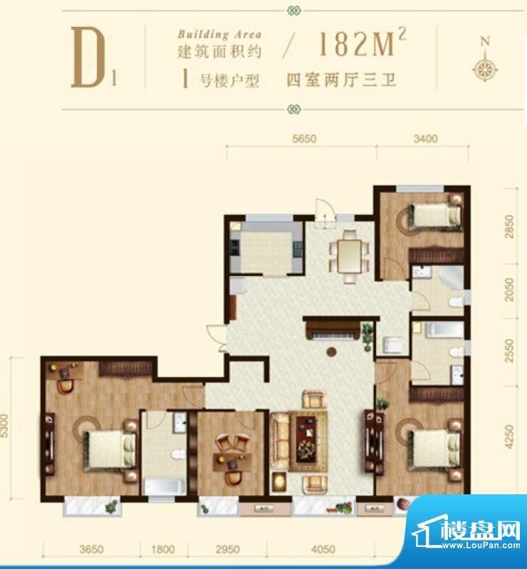 龙山广场1号楼D1户型 4室2厅3卫面积:182.00平米