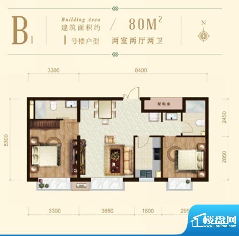 龙山广场1号楼B1户型 2室2厅2卫面积:80.00平米