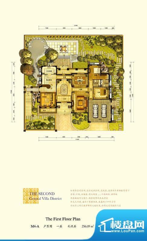 格拉斯小镇M4-A户型一层户型图面积:256.09平米