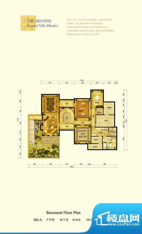 格拉斯小镇M4-A户型地下层户型面积:290.44平米