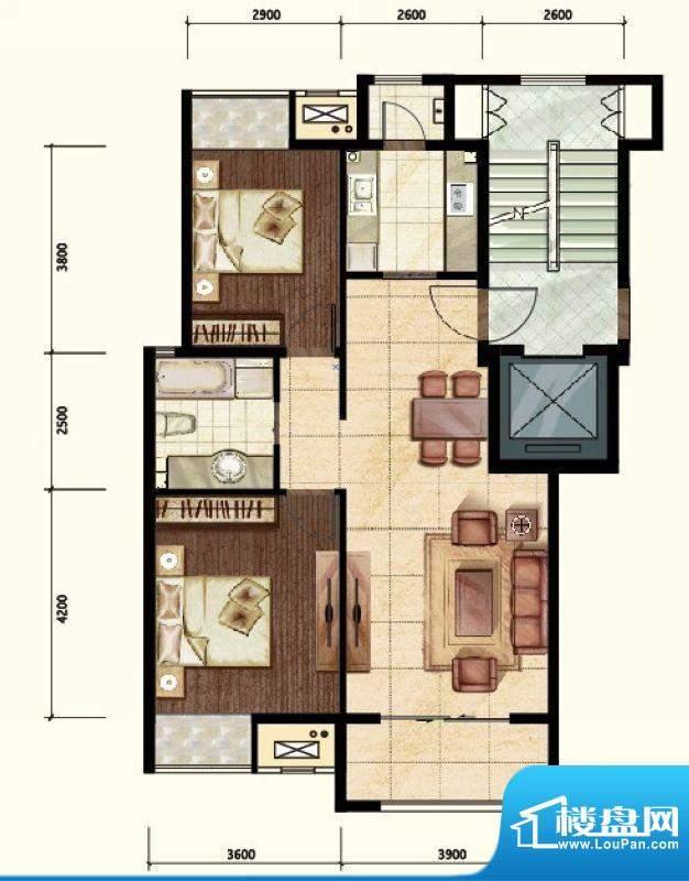 中昂·香醍两居A户型图 2室2厅面积:90.00平米