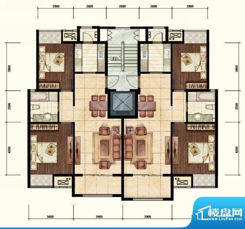 中昂·香醍两居户型图 2室2厅1面积:90.00平米