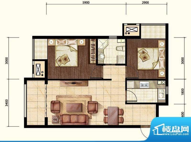 中昂·香醍两居室户型图 2室2厅面积:70.00平米