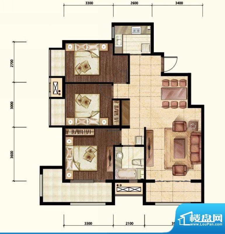 中昂·香醍三居室户型图 3室2厅面积:110.00平米