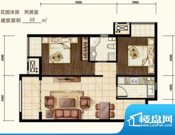 中昂·香醍花园洋房户型图 2室面积:68.00平米