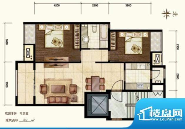 中昂·香醍花园洋房户型图 2室面积:86.00平米