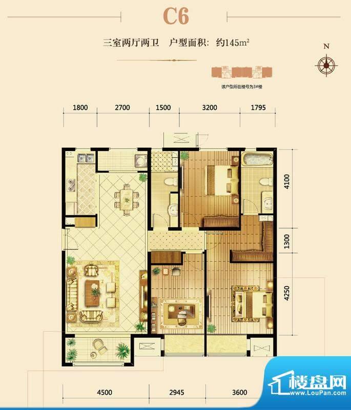 鸿坤·曦望山C6户型图 3室2厅2面积:145.00平米