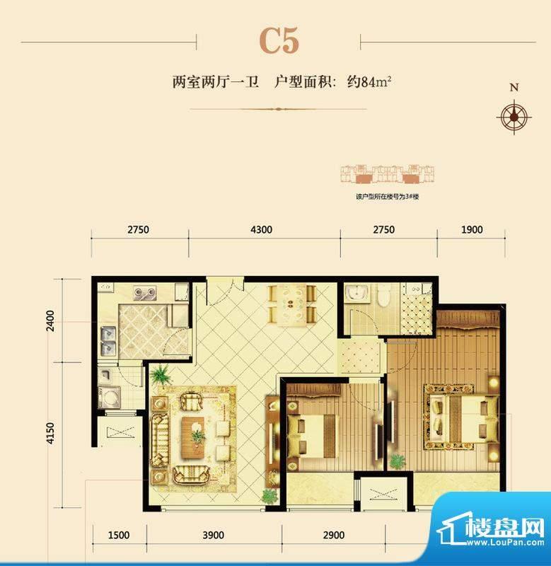 鸿坤·曦望山C5户型图 2室2厅1面积:88.00平米