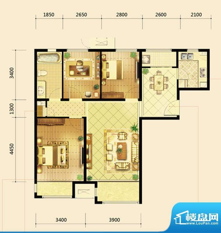 鸿坤·曦望山A1户型 3室2厅1卫面积:112.00平米