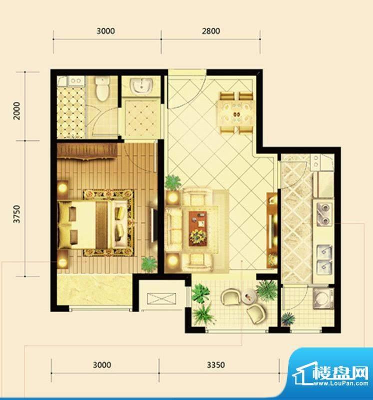 鸿坤·曦望山A2户型 1室2厅1卫面积:63.00平米