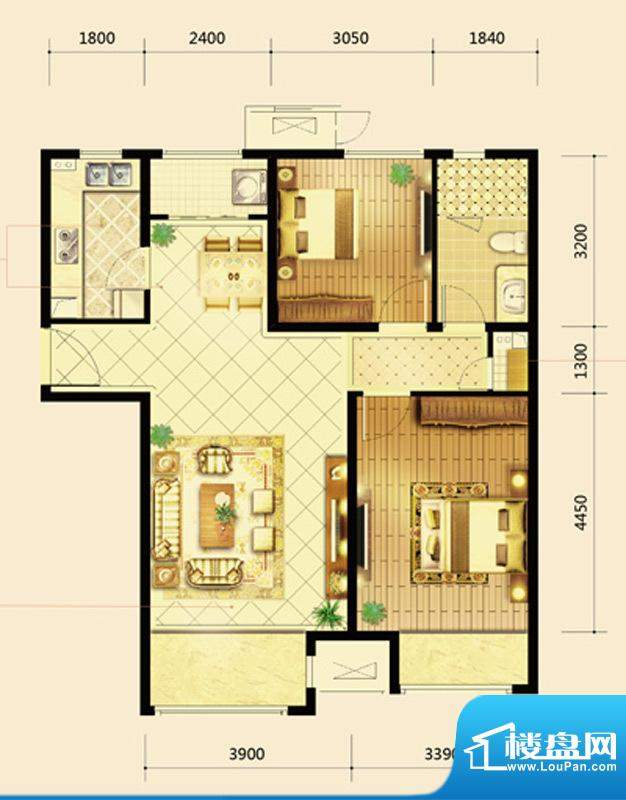 鸿坤·曦望山A3户型 2室2厅1卫面积:97.00平米