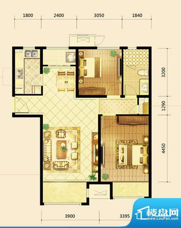 鸿坤·曦望山A3-1户型 2室2厅1面积:97.00平米