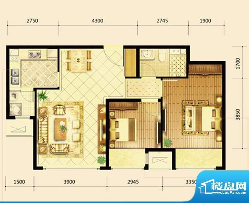 鸿坤·曦望山B3户型 2室2厅1卫面积:87.00平米