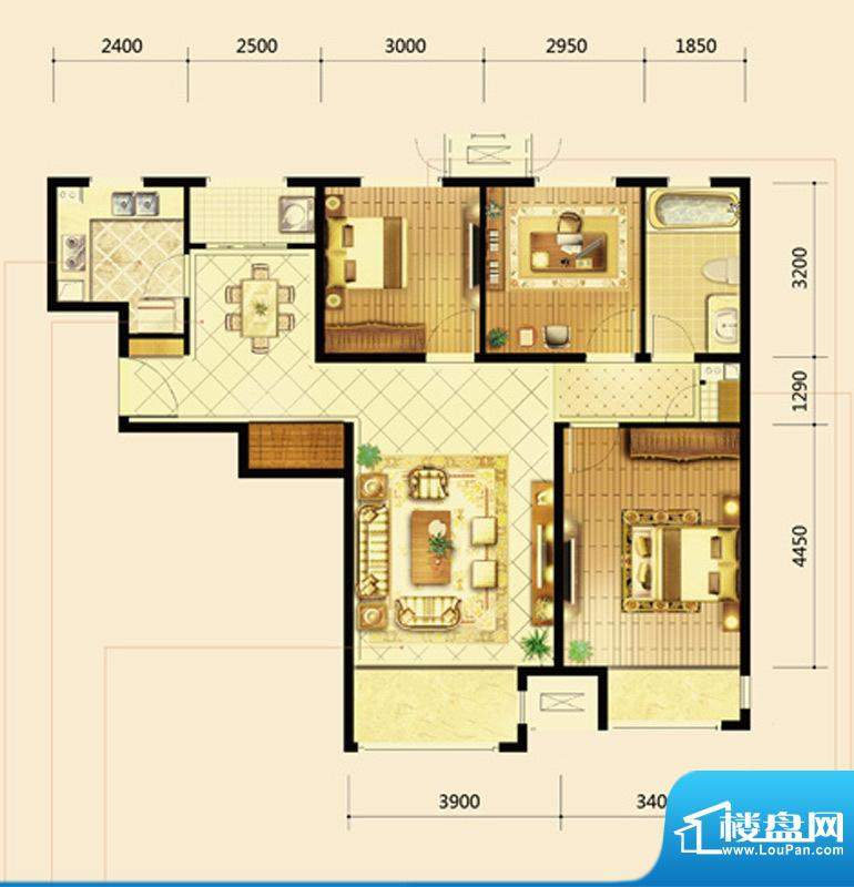 鸿坤·曦望山B4户型 3室2厅1卫面积:114.00平米