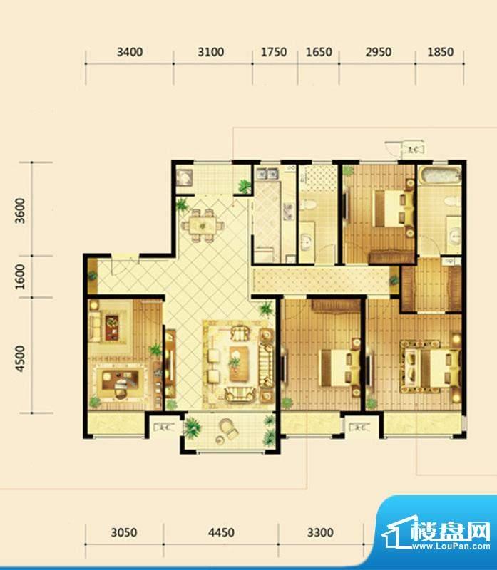 鸿坤·曦望山D4户型 4室2厅2卫面积:170.00平米