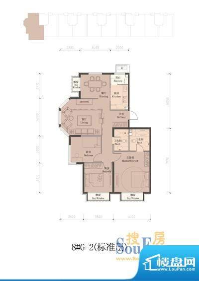 润泽公馆8#楼G-2(标准层) 3室2