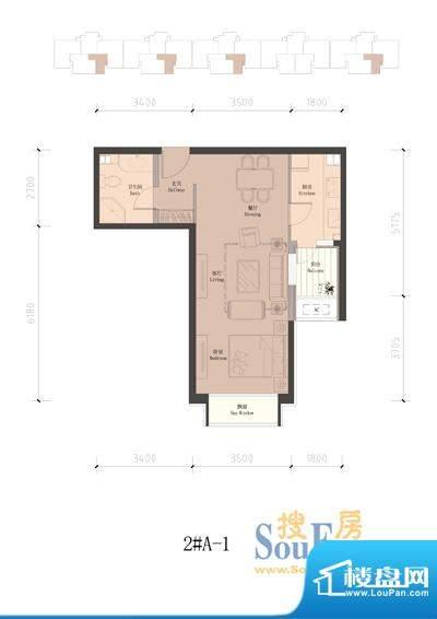 润泽公馆2#楼A-1 1室2厅1卫1厨