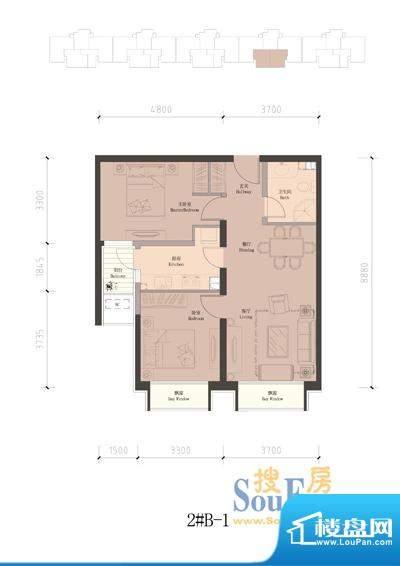 润泽公馆2#楼B-1 2室2厅1卫1厨