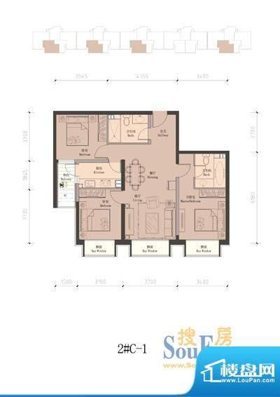 润泽公馆2#楼C-1 3室2厅2卫1厨