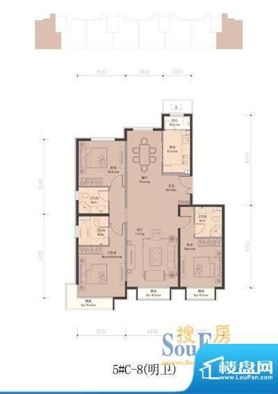 润泽公馆5#楼C-8 3室2厅3卫1厨