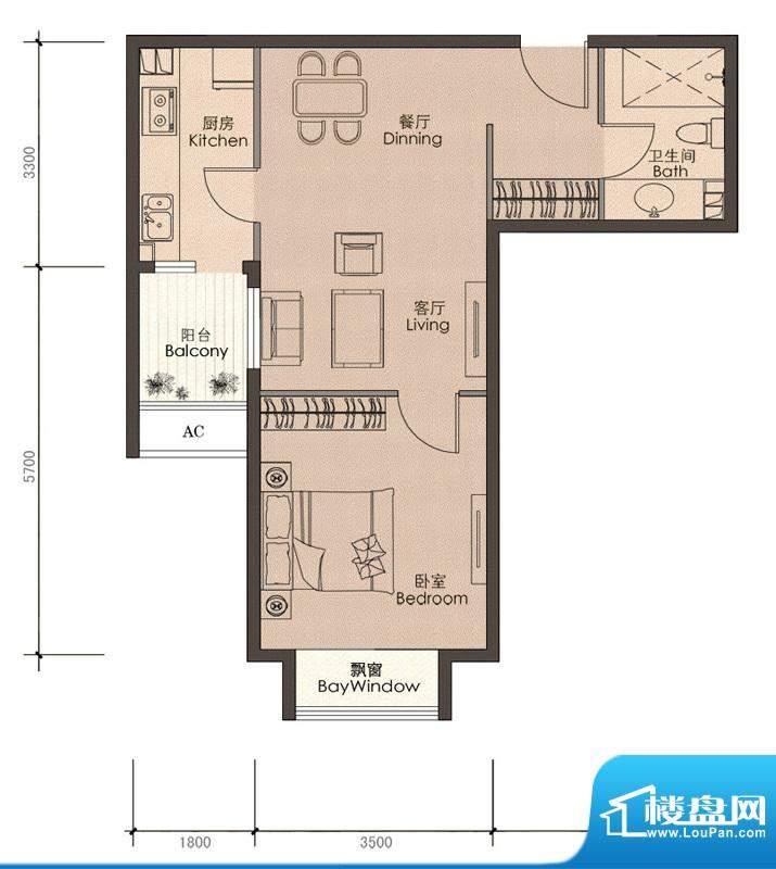 润泽公馆A-1户型 1室2厅1卫1厨面积:60.00平米
