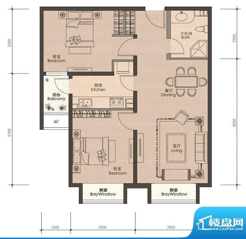 润泽公馆B-1户型 2室2厅1卫1厨面积:88.00平米