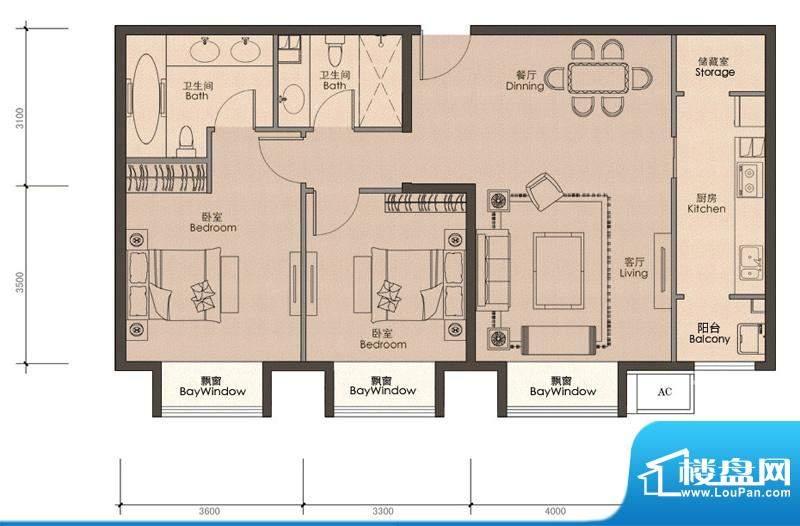 润泽公馆B-2户型 2室2厅2卫1厨面积:106.00平米