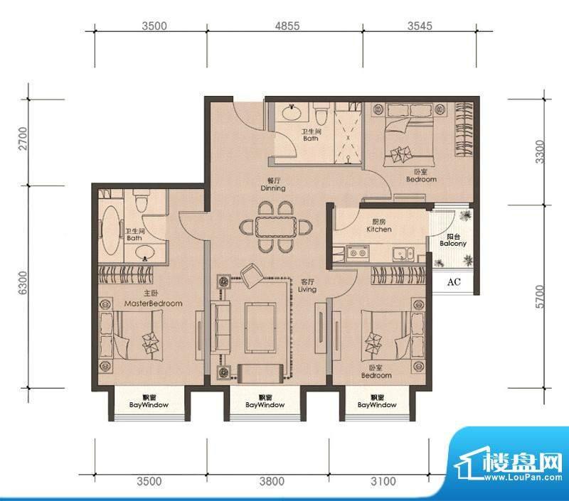 润泽公馆C-1户型 3室2厅2卫1厨面积:113.00平米