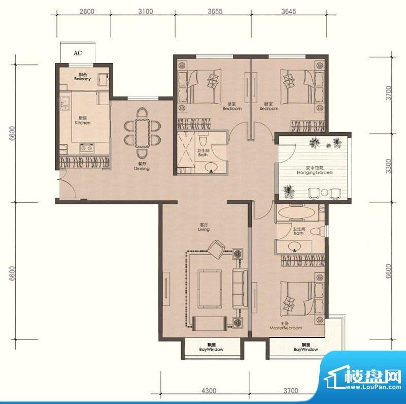 润泽公馆C-2户型 3室2厅2卫1厨面积:168.00平米