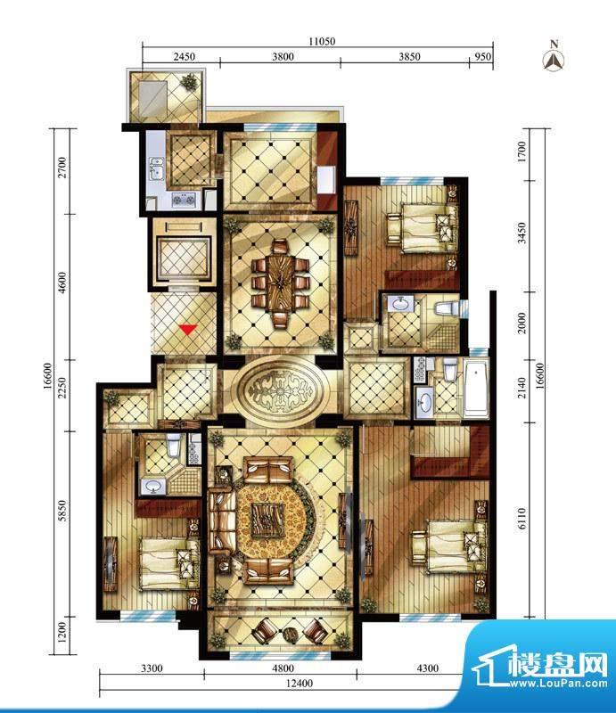 中海九号公馆GB户型图 3室2厅3面积:175.00平米