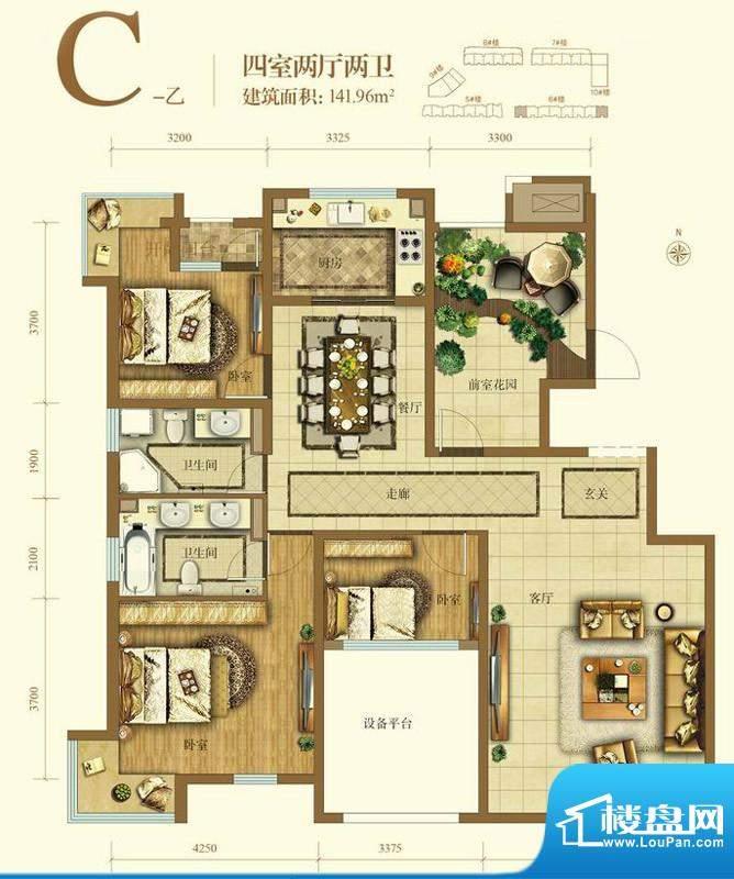 大苑·海淀名著C-乙户型图 4室面积:141.96平米