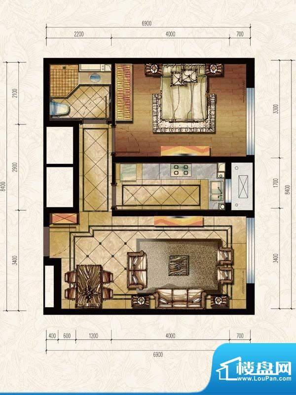 中海苏黎世家L户型图 1室1厅1卫面积:61.00平米