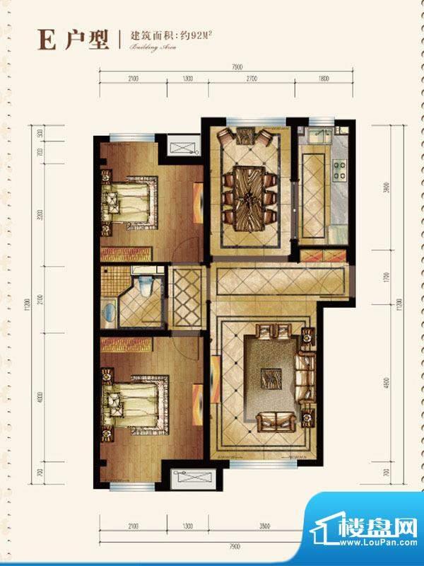 中海苏黎世家E户型图 2室2厅1卫面积:92.00平米