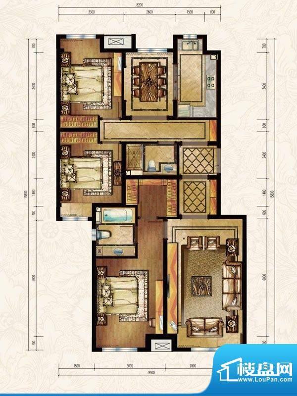 中海苏黎世家A户型图 3室2厅1卫面积:130.00平米
