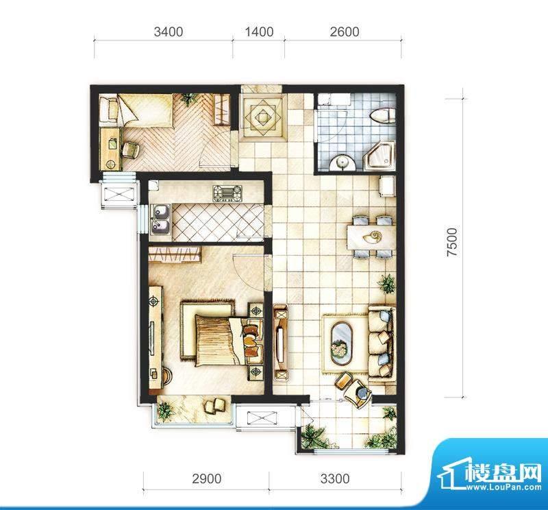 首开熙悦山清新文艺派二居户型面积:68.00平米