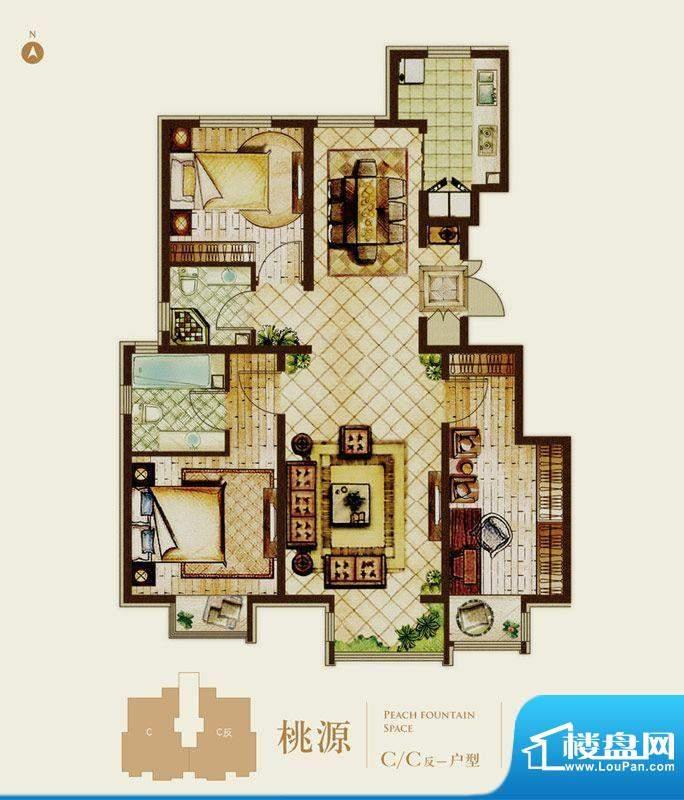 首开熙悦山桃源C-C反户型 3室2面积:100.00平米